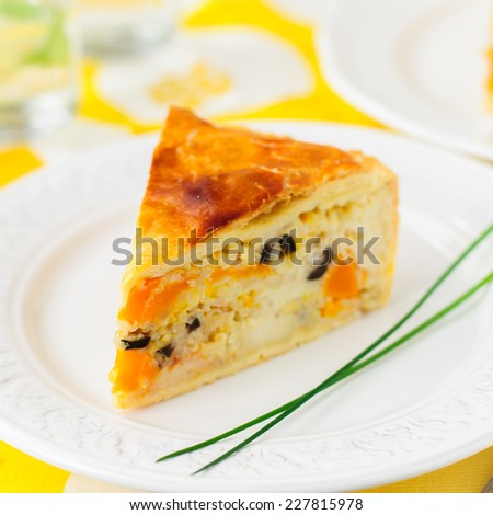 A Piece of Greek Rice, Pumpkin, Kalamata Olive and Feta Pie, square, copy space for your text - stock photo