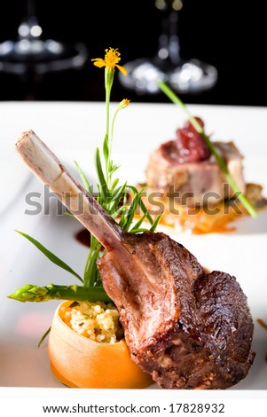 a piece of lamb chop meal with rib beautifully displayed