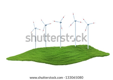 A piece of land in the air. Wind power station mills on the lawn
