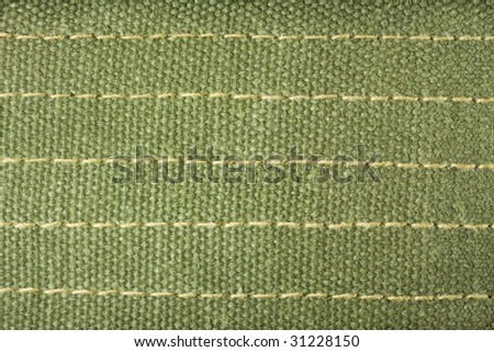 a piece of military like fabric in Olive green color. - stock photo