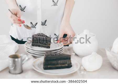 a piece of Sacher cake (Austrian chocolate cake)  on a white plate, female holding a plate with the cake,  - stock photo