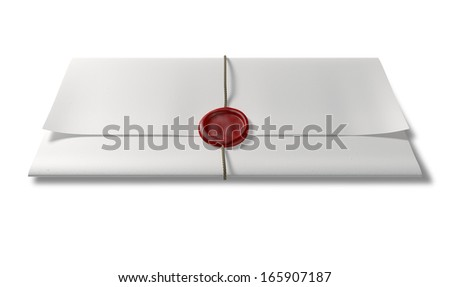 A piece of white paper folded up three times bound by a thin string and sealed by a blank red wax seal on an isolated white background