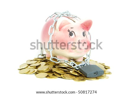 A piggy bank with a chain and padlock