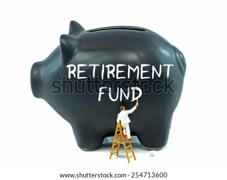 A piggy bank with the retirement fund theme on the side on a white background - stock photo