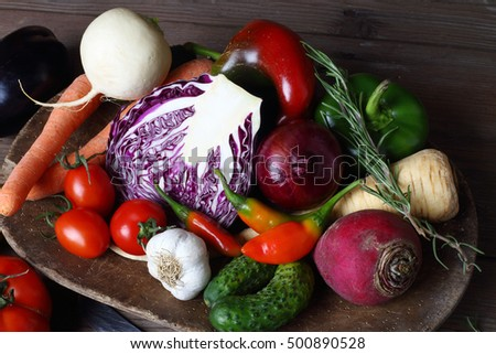 a pile of autumn vegetables