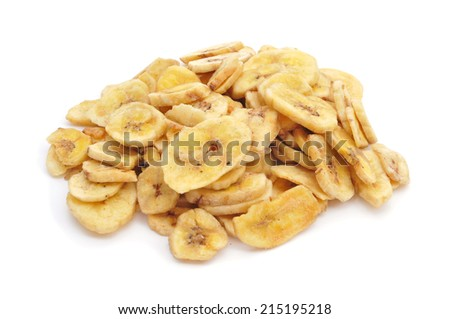 a pile of banana chips on a white background