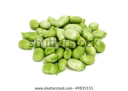 a pile of broad beans isolated on a white background - stock photo