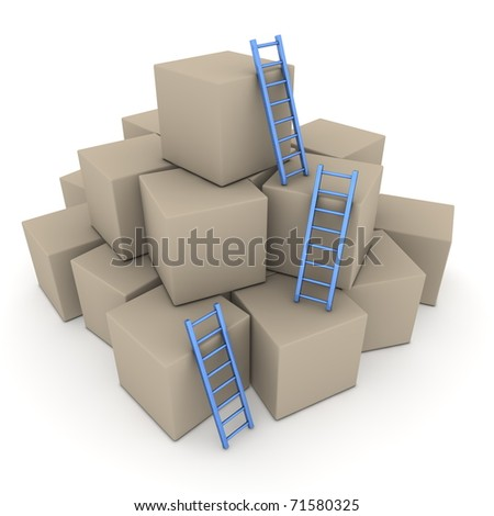a pile of cardboard boxes - three blue glossy ladders are used to climb to the top - stock photo