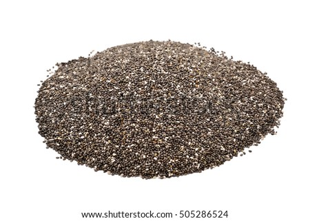 a pile of chia seeds on a white background