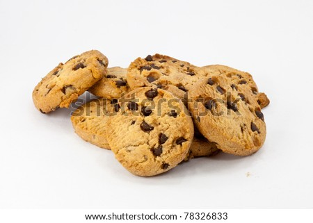 a pile of chocolate cookies - stock photo