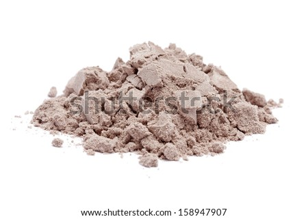 a pile of chocolate protein powder on white background.
