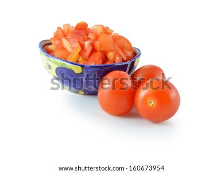 a pile of chopped raw tomato a white background