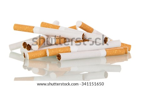 A pile of cigarettes close-up isolated on white background