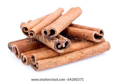 A pile of Cinnamon sticks isolated on white studio background.
