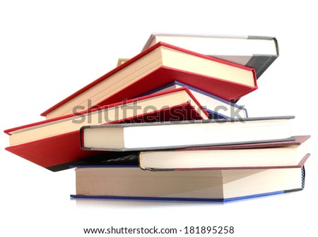 A pile of college textbooks - stock photo
