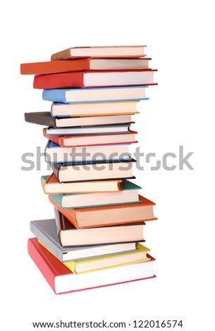 a pile of colorful books isolated on white background - stock photo