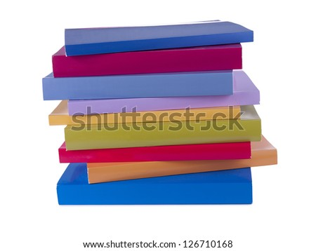 A pile of colorful notebooks Stock Photo
