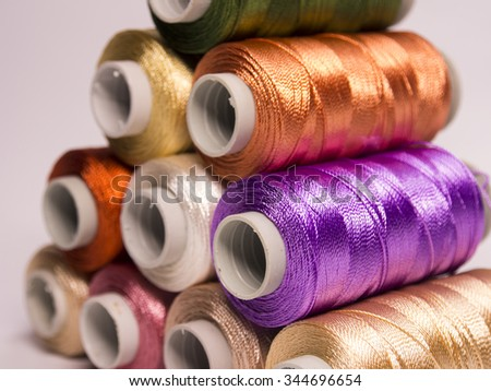 A pile of colorful threads