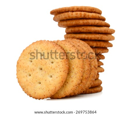 a pile of crackers on white background  - stock photo