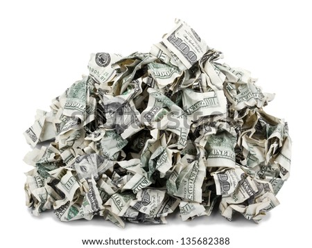 A pile of crimped 100 US$ money notes on top of each other, isolated on white background.