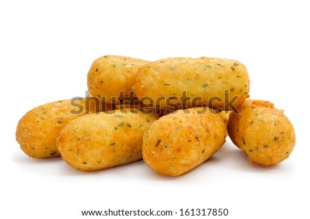 a pile of croquetas de bacalao, spanish codfish croquettes, on a white background - stock photo