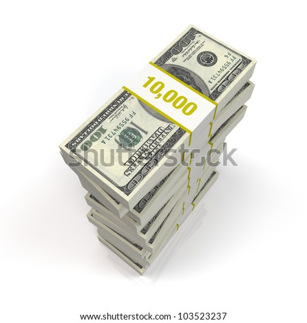 A pile of 100 dollar bills on a white reflective background
