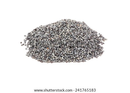 A pile of dry poppy grains on a white background
