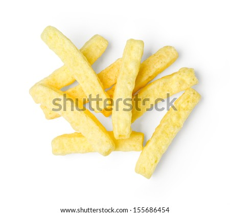 a pile of french fries on white background. With clipping path - stock photo