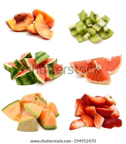 A pile of fruit slices - stock photo