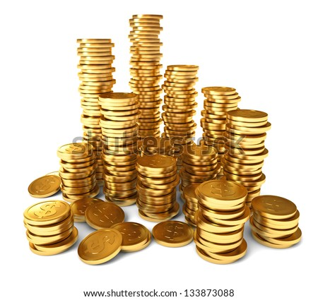 A pile of gold coins. Conceptual illustration. Isolated on white background. 3d render - stock photo