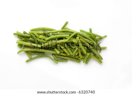 a pile of green beans in a white background