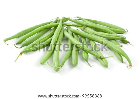 a pile of green french beans