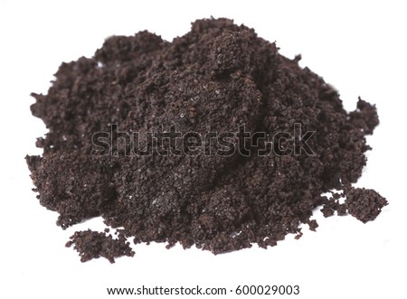 A pile of ground coffee isolate on white background.