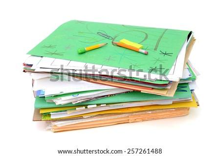 A pile of homework portfolio in elementary school - stock photo