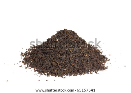 A pile of loose-leaf black tea isolated on a white background