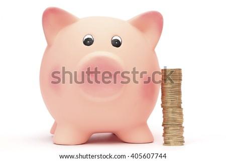 A pile of money next to a piggy bank - stock photo