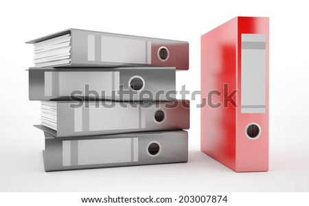 A pile of office ring binders with red binder - stock photo