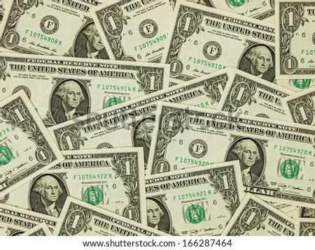 A Pile of One Dollar Bills as a Money Background - stock photo