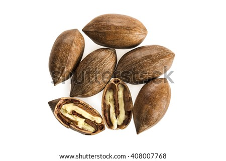 A pile of pecan nuts isolated on white background - stock photo