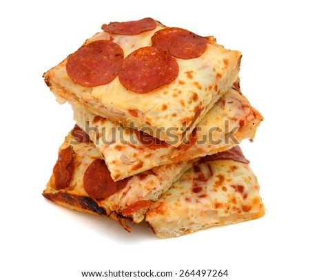 a pile of pepperoni pizza slices on white background  - stock photo