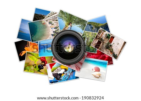 A pile of photographs with your empty space. - stock photo