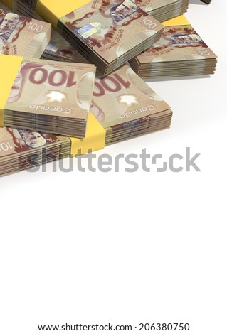 A pile of randomly scattered wads of Canadian Dollar banknotes on an isolated background - stock photo