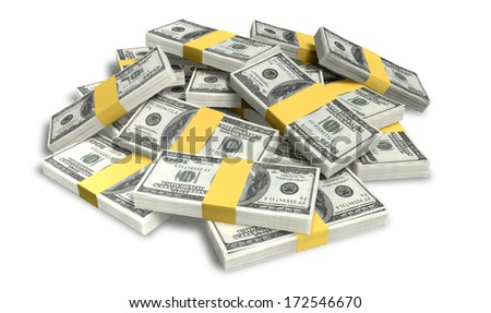 A pile of randomly scattered wads of us dollar banknotes on an isolated background - stock photo