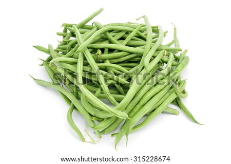 a pile of raw green beans on a white background - stock photo