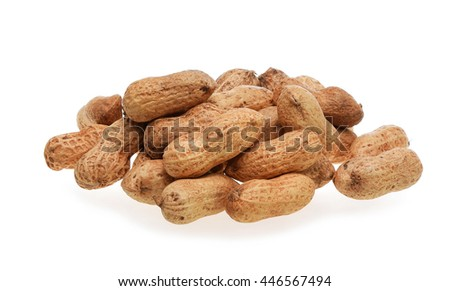 A pile of roasted peanuts isolated on white background