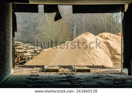 A pile of saw dust and some logs outside an abandoned building that frames the view as seen from the inside out. Rubber seal hangs down from ceiling. - stock photo