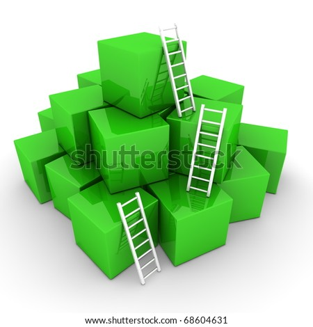 a pile of shiny green boxes - three bright whiteladders are used to climb to the top - stock photo