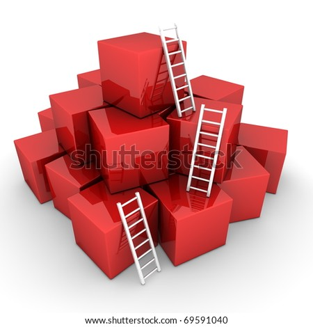 a pile of shiny red boxes - three bright white ladders are used to climb to the top