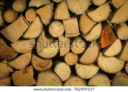 A pile of stacked firewood, prepared for heating the house. Firewood harvested for heating in winter.