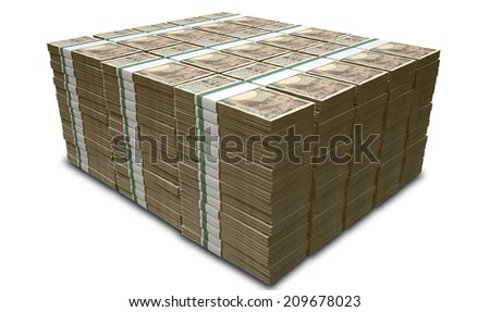 A pile of stacked wads of japanese yen banknotes on an isolated background